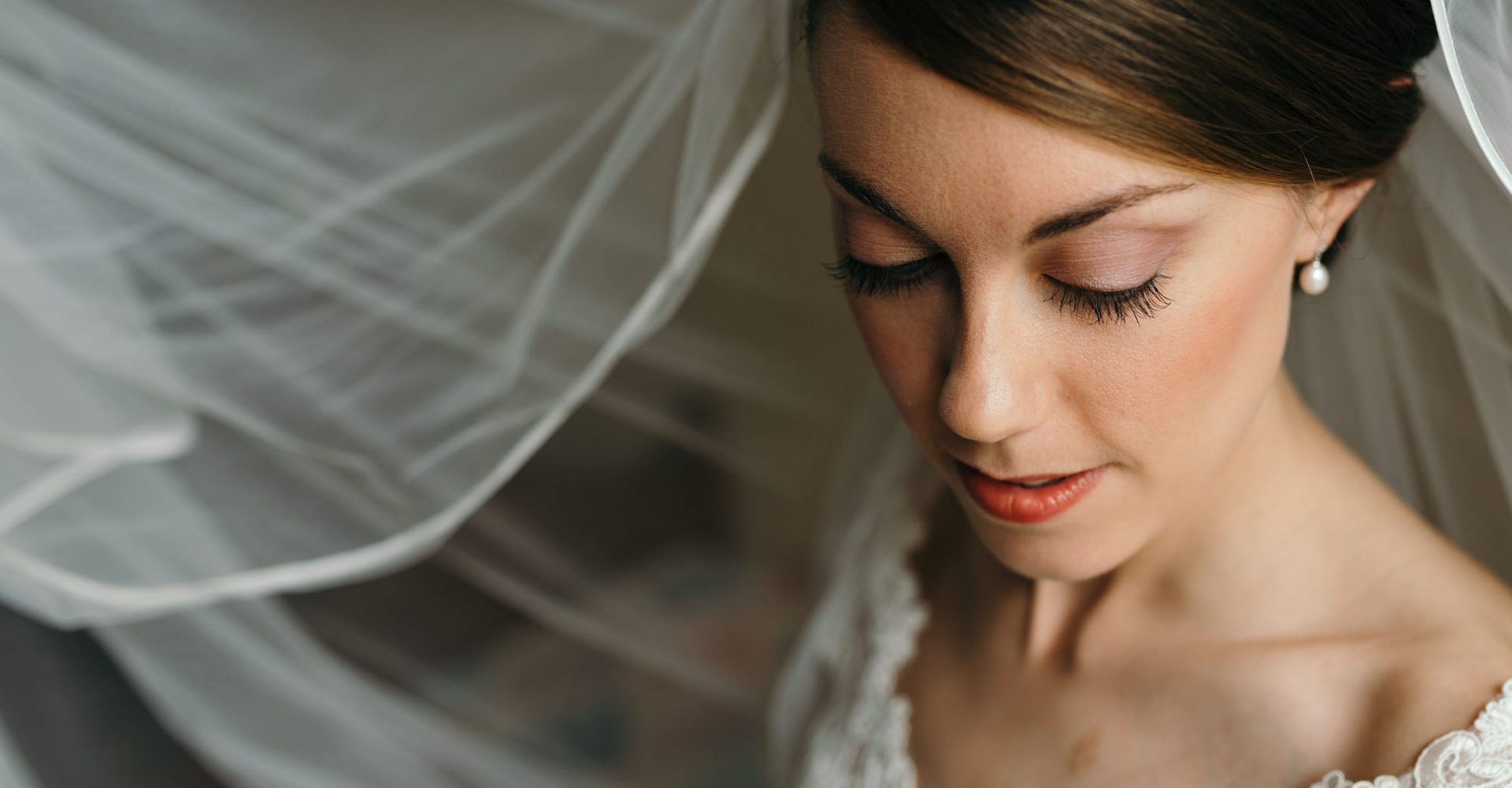 beautiful close up portrait of bride with veil